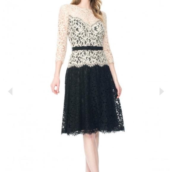 Tadashi Shoji Dresses & Skirts - Tadashi Shoji Illusion Lace ¾ Sleeve A-Line Dress